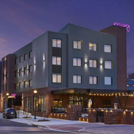 The Exterior of Moxy Chattanooga from Market Street.