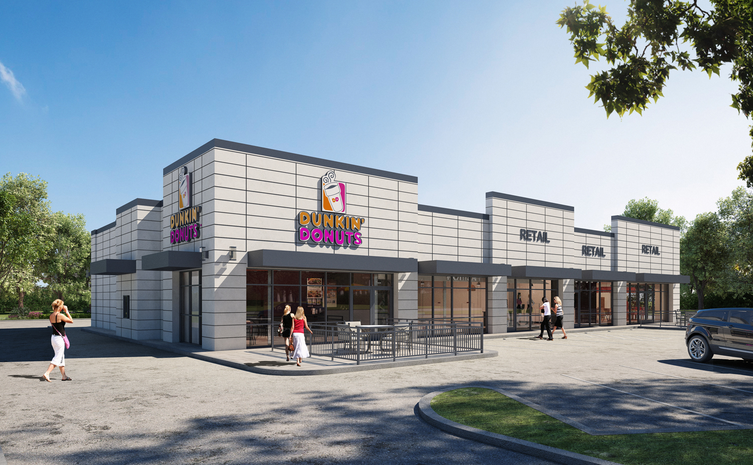 Owls Nest rendering featuring Dunkin Donuts