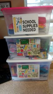 School supplies donated to school