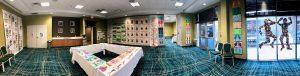 A 360 degree photo of the art displayed by Battle Academy students at Save Art!