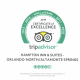 Hampton Inn & Suites Orlando-North/ Altamonte Springs wins 5th TripAdvisor Certificate of Excellence